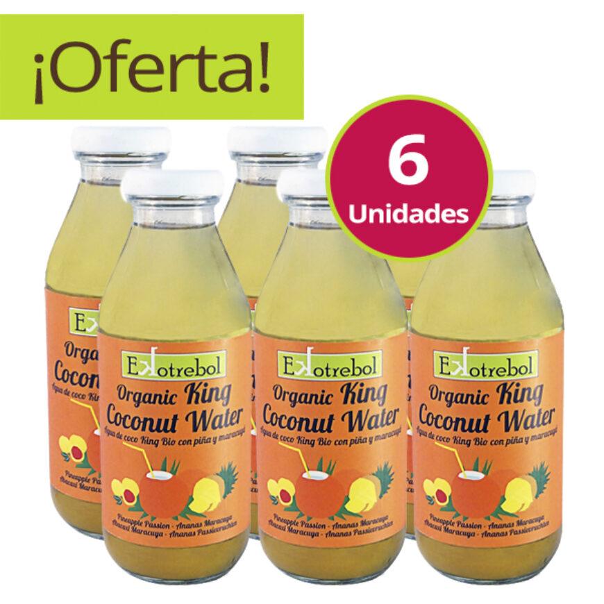 Pack de 6 Aguas de Coco, Piña y Maracuyá Bio King
